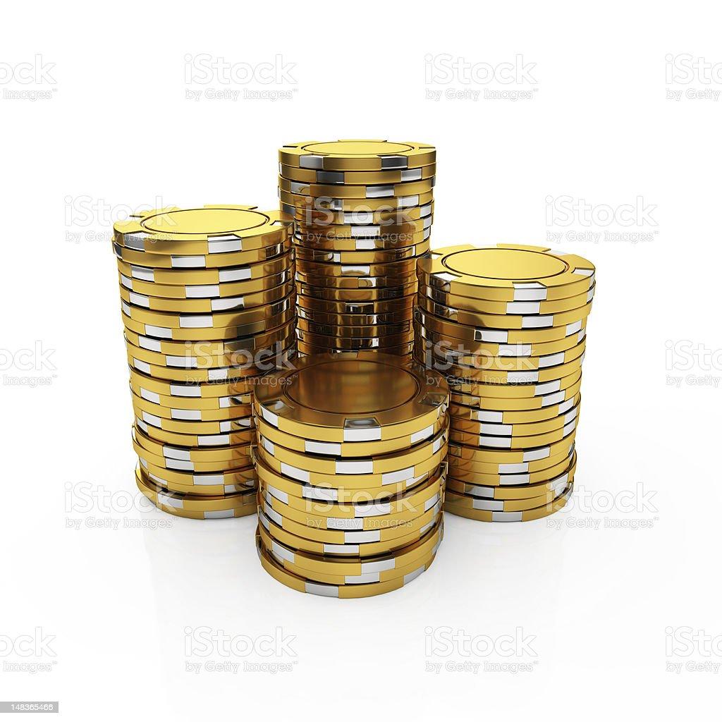 Golden casino chips stock photo