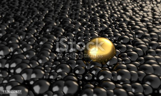 Golden cell in the middle of black ones. ( 3d render )
