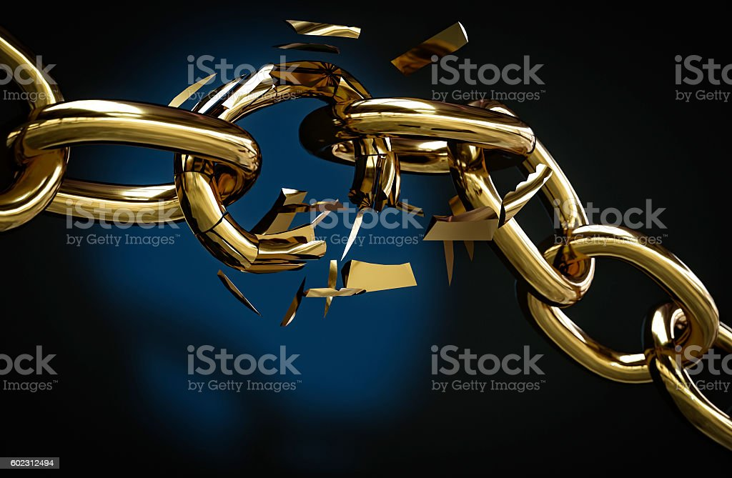 golden chain broken 3D illustration stock photo