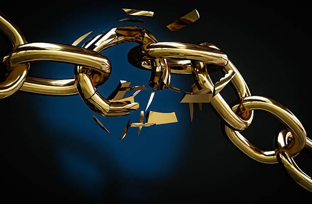 golden chain broken 3D illustration stock photo