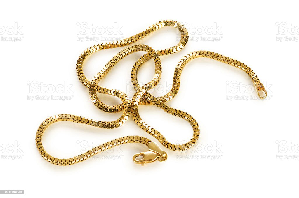 Golden chain isolated on the white background royalty-free stock photo