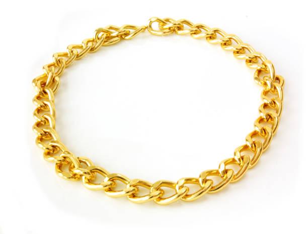 golden chain isolated - ожерелье стоковые фото и изображения