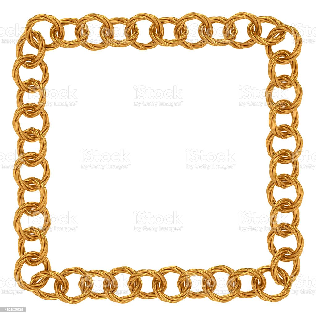 Golden chain of twisted rings stock photo