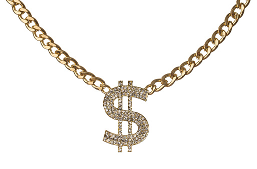 Golden chain with diamond dollar symbol isolated on white background