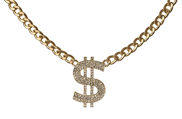 Golden chain with diamond dollar symbol Golden chain with diamond dollar symbol isolated on white background gangster stock pictures, royalty-free photos & images