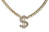 Golden chain with diamond dollar symbol