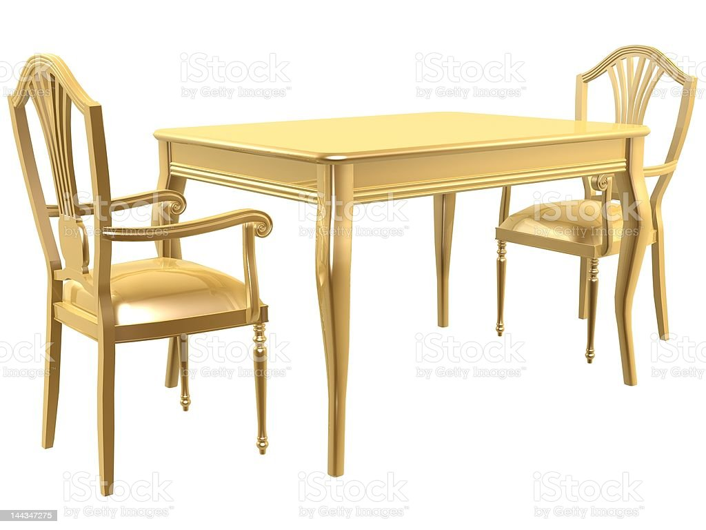 golden chairs and table royalty-free stock photo
