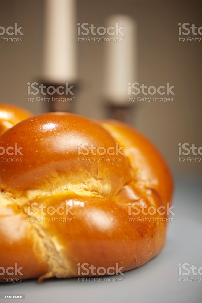 Golden Challah for Shabbat Dinner stock photo