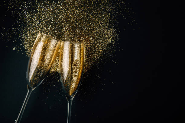 Golden champagne toast stock photo
