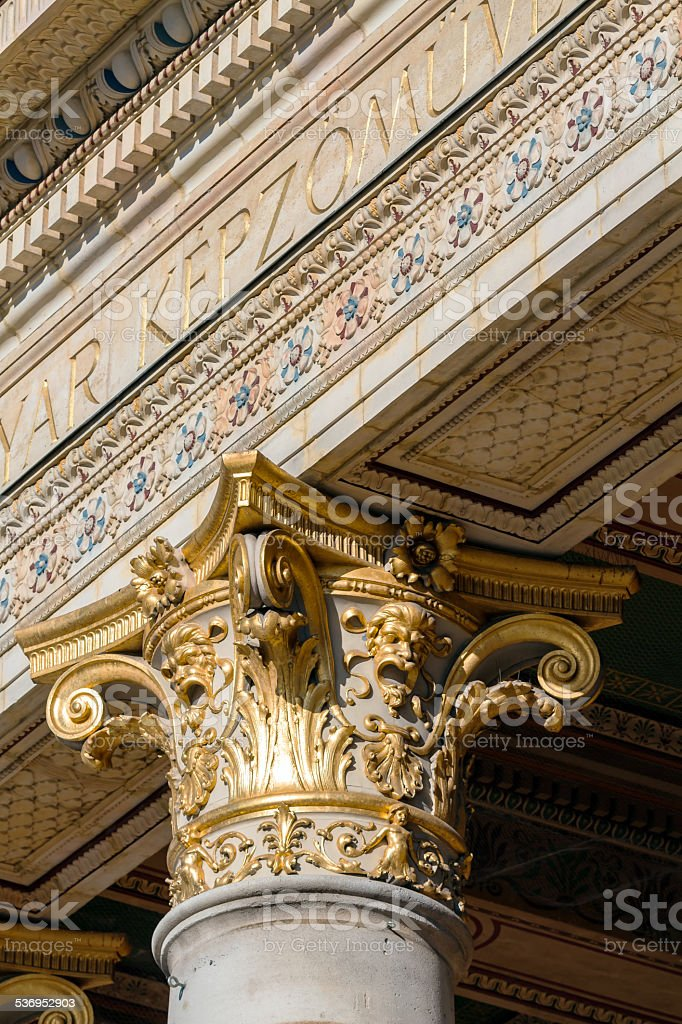 Golden chapiter in one of the historic buildings in Budapest stock photo