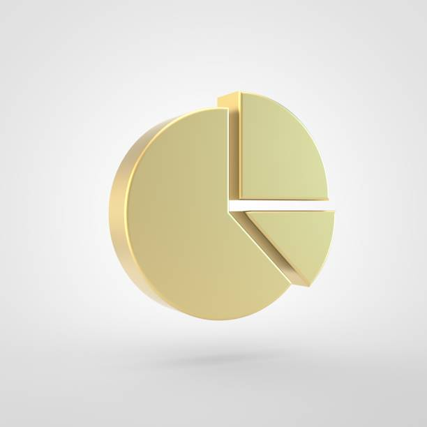 Golden chart pie icon isolated on white background. stock photo