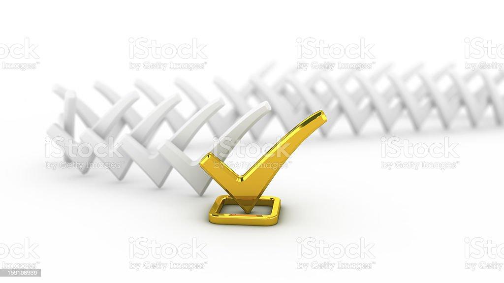 Golden check mark royalty-free stock photo