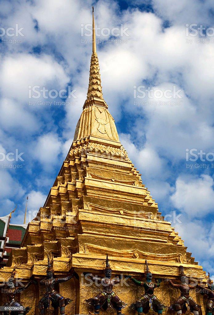 Golden Chedi of Wat Phra Kaew in Bangkok, Thailand stock photo