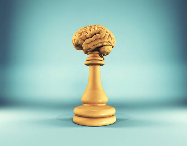 Golden chess pieces with a brain . This is a 3d render illustration. stock photo