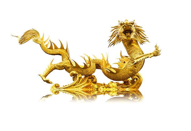 Goldenen chinesischen Drachen statue – Foto