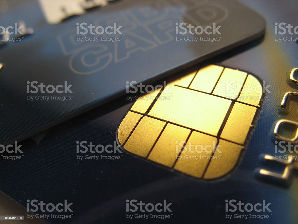 Golden Chip and Pin stock photo
