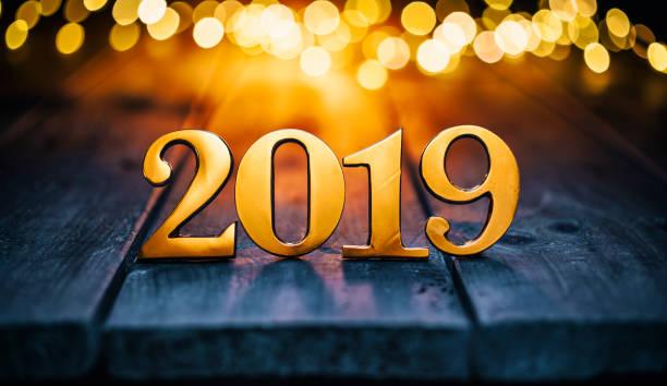 Goldene Weihnachten 2019 - Holz Neujahr Gold Metall Leuchten – Foto