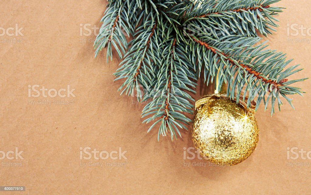 Golden Christmas ball on green spruce branch isolated . zbiór zdjęć royalty-free