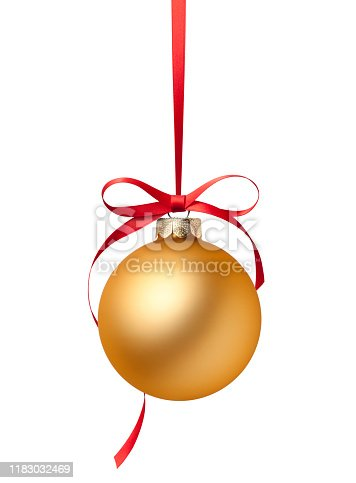 Golden Christmas ball on white background.
