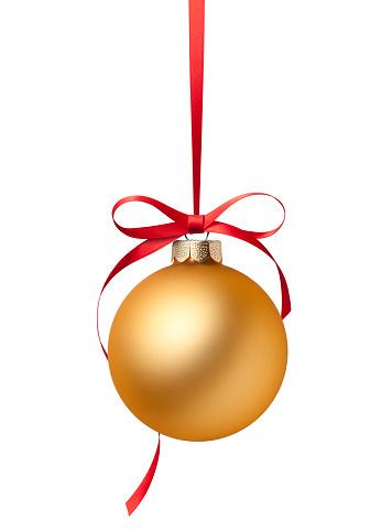 Golden Christmas ball on white background.