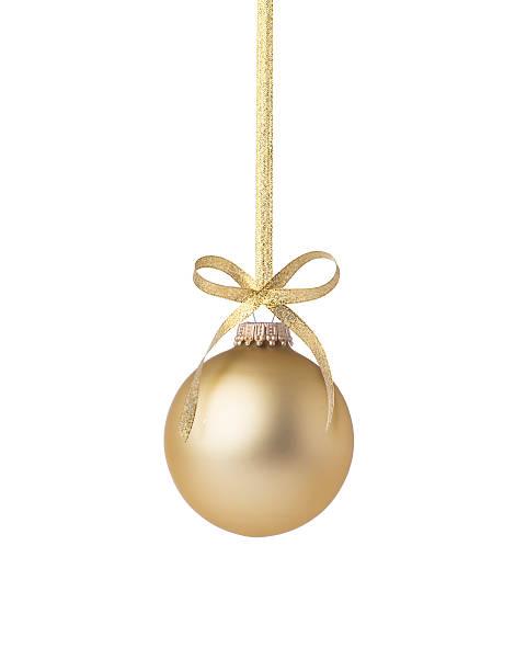 złoty boże narodzenie ball - bombka zdjęcia i obrazy z banku zdjęć