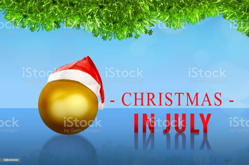 golden christmas ball with santa hat on christmas in july royalty free stock photo - Christmas In July Australia