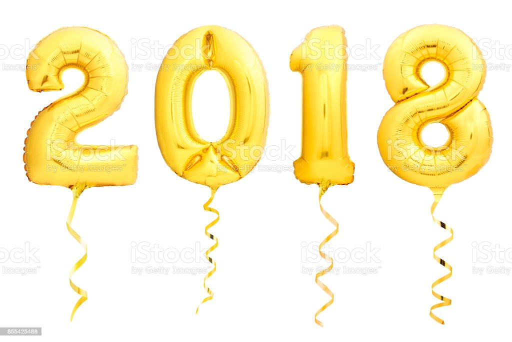 Golden Christmas balloons 2018 made of inflatable balloon with golden ribbon on white stock photo