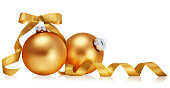 istock Golden christmas balls with ribbon isolated over white background. 1276445051