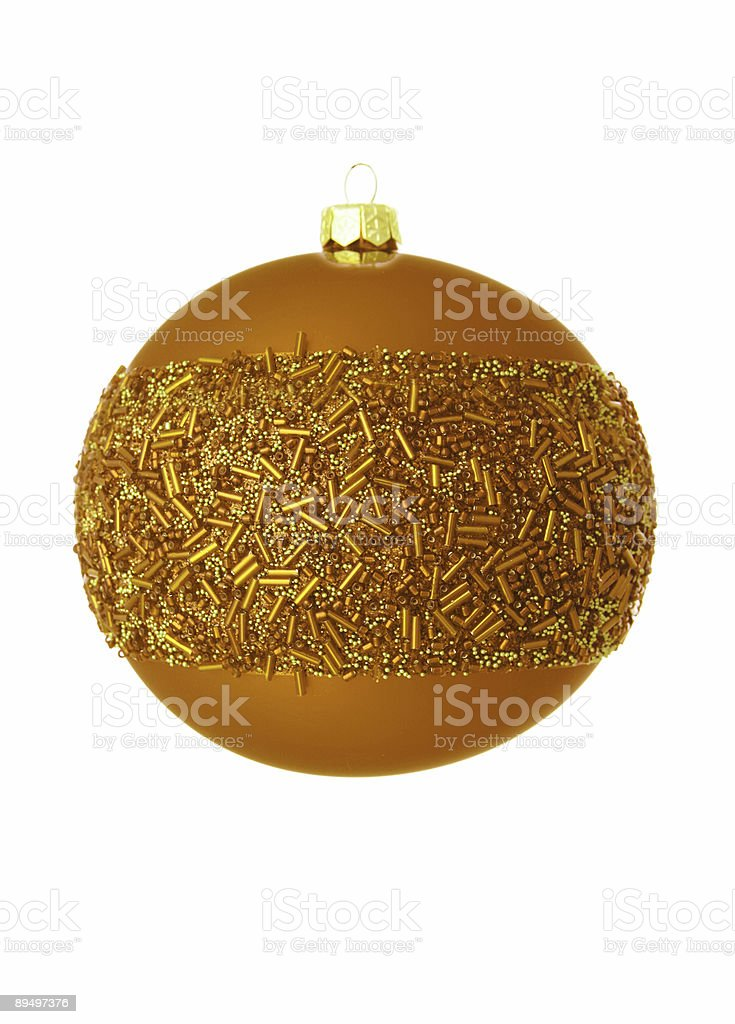 golden christmas bauble su bianco foto stock royalty-free