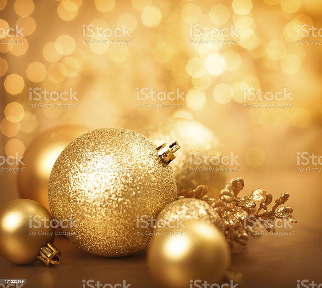 Golden Christmas baubles stock photo