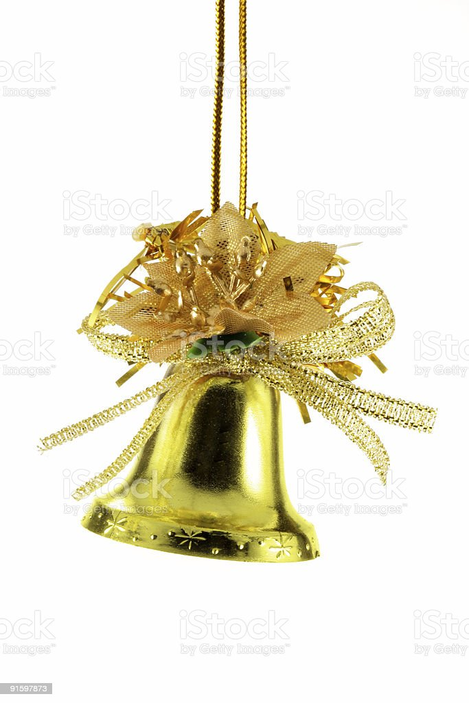 Golden Christmas bell isolated royalty-free stock photo