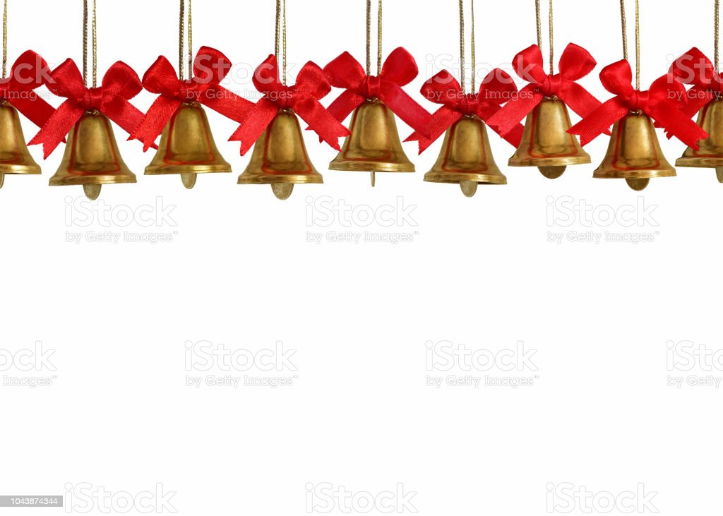 Christmas Bells Images.Golden Christmas Bells Seamless On Both Sides Isolated In White Background Stock Photo Download Image Now