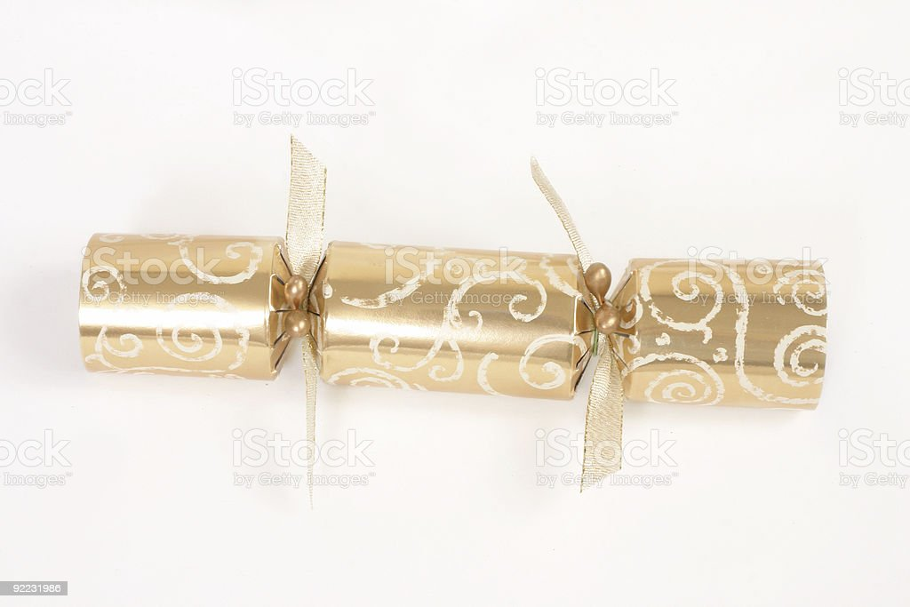 Golden christmas cracker stock photo