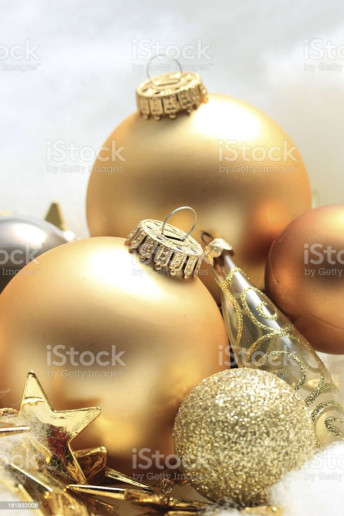 Golden Christmas decorations royalty-free stock photo