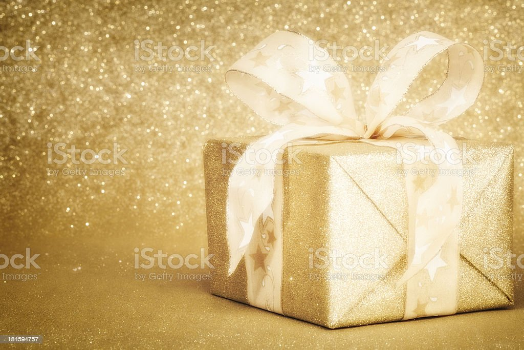 Golden Christmas Gift Box Golden Christmas Gift Box Birthday Stock Photo
