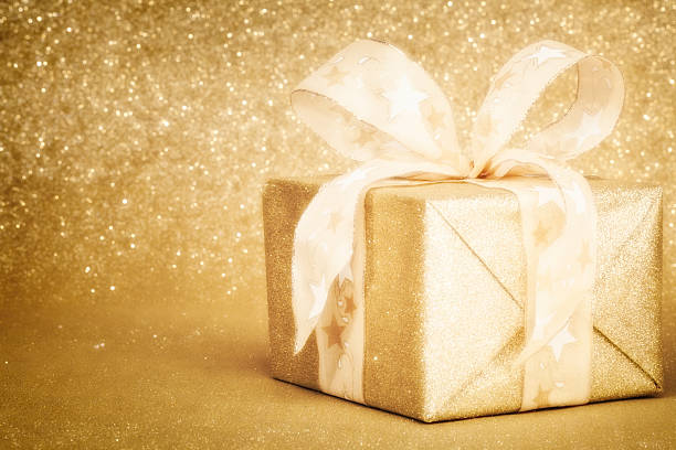 Golden Christmas Gift Box stock photo