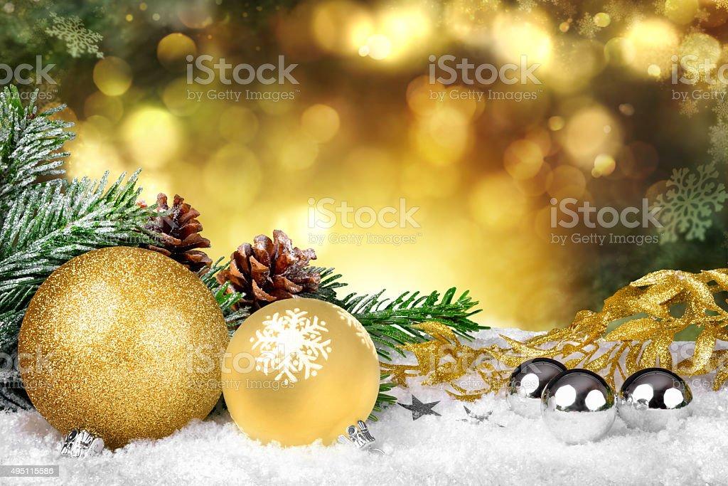 Golden Christmas stock photo