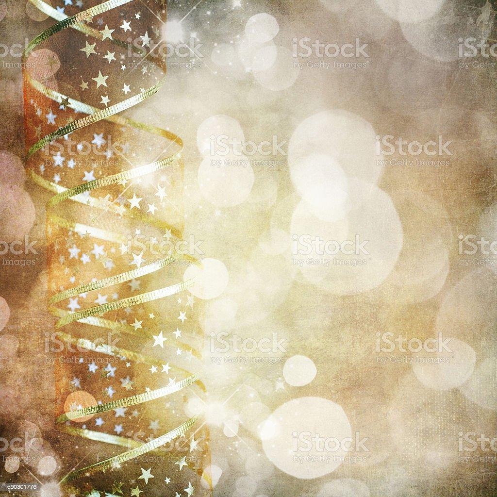 Золотой Рождественские ленты Стоковые фото Стоковая фотография