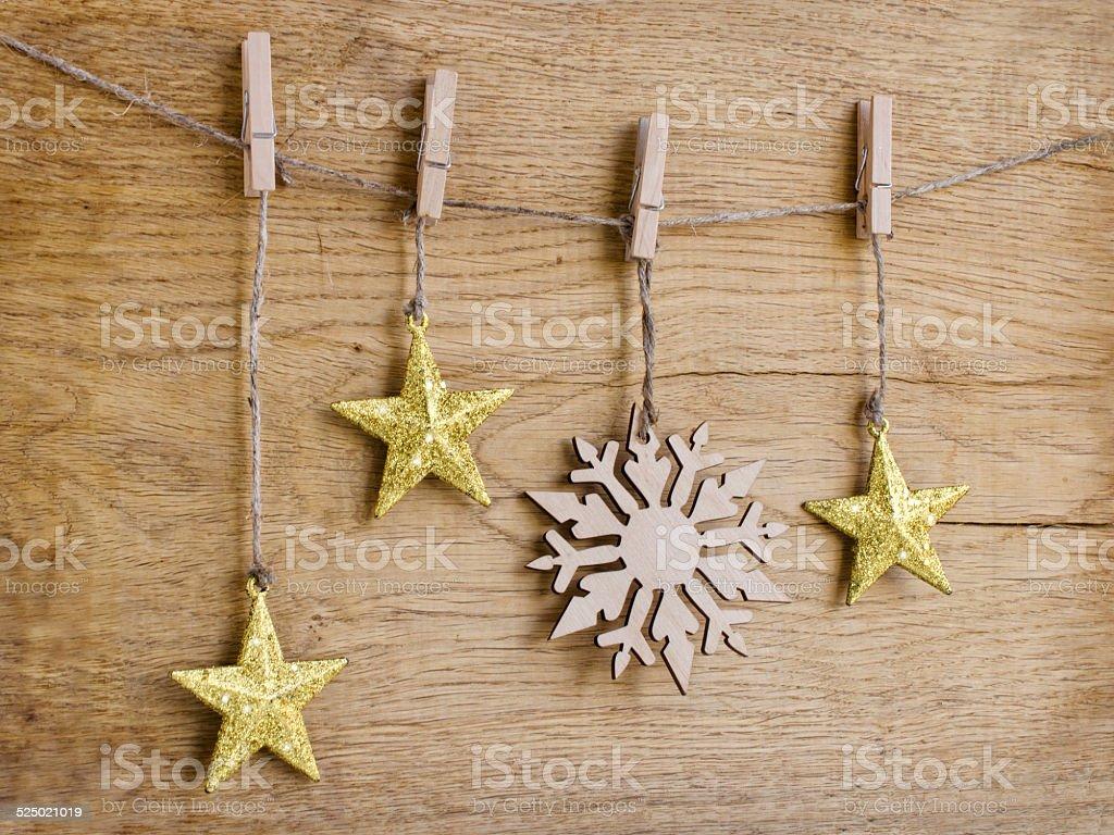 golden christmas star and snowflake stock photo