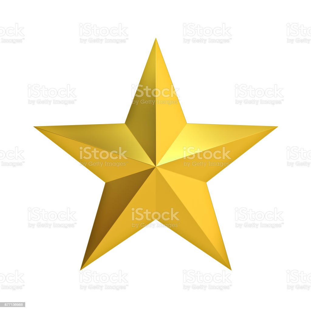 Golden Christmas Star for christmas decoration and other events isolated on white background . 3D render stock photo