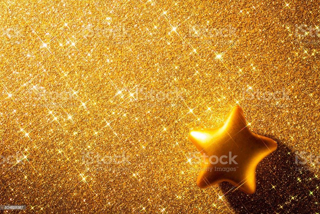 Golden Christmas Star - Glitter Background Anniversary Gold stock photo