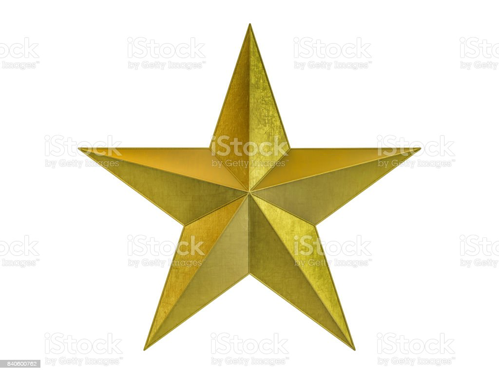 Golden Christmas Star isolated on white Background. 3D rendering stock photo