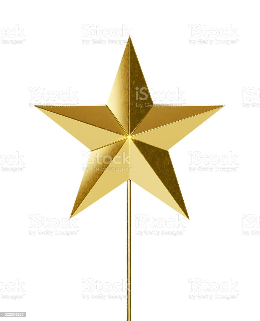 Golden Christmas Star Shaped Tree Topper  Isolated on White Background stock photo