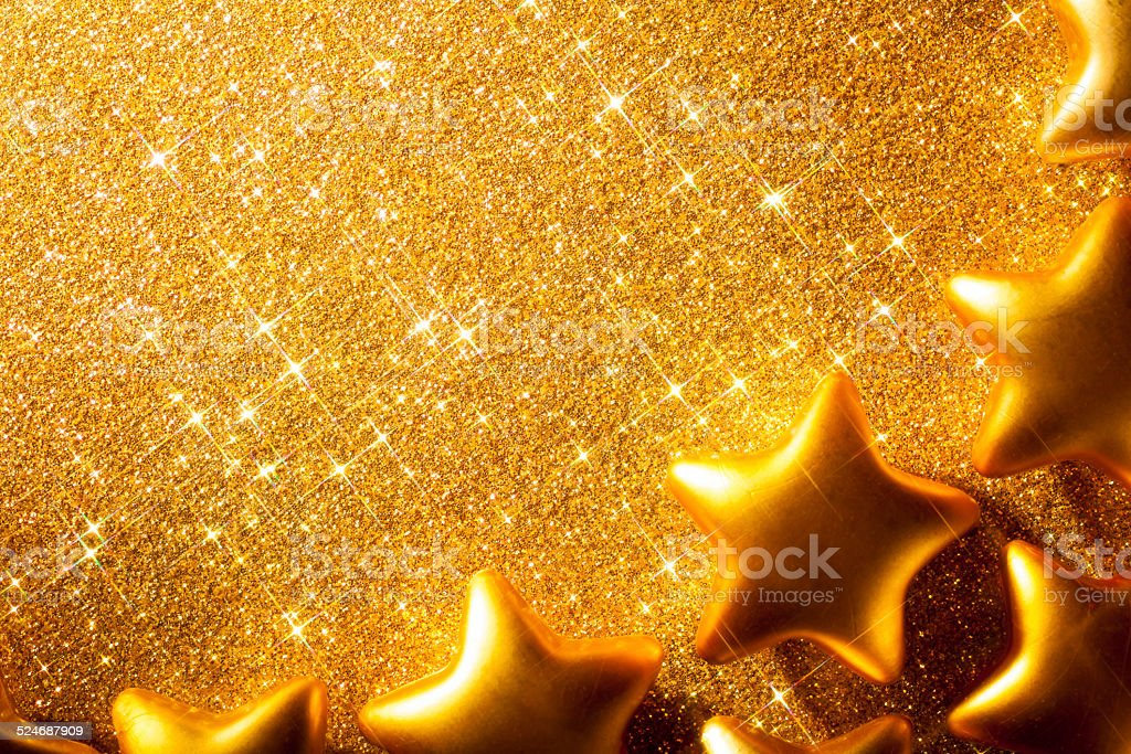 Golden Christmas Stars - Glitter Background Anniversary Gold stock photo