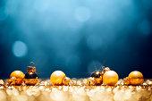 Golden Christmas Time - Decorations Lights Bokeh Defocused Blue Gold