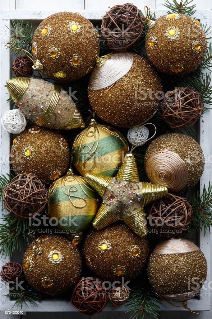 Y Stock De En Dorado Juguetes Navidad Madera Caja Foto Blanca 54R3ALj