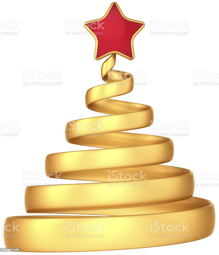 Golden Christmas tree abstract royalty-free stock photo