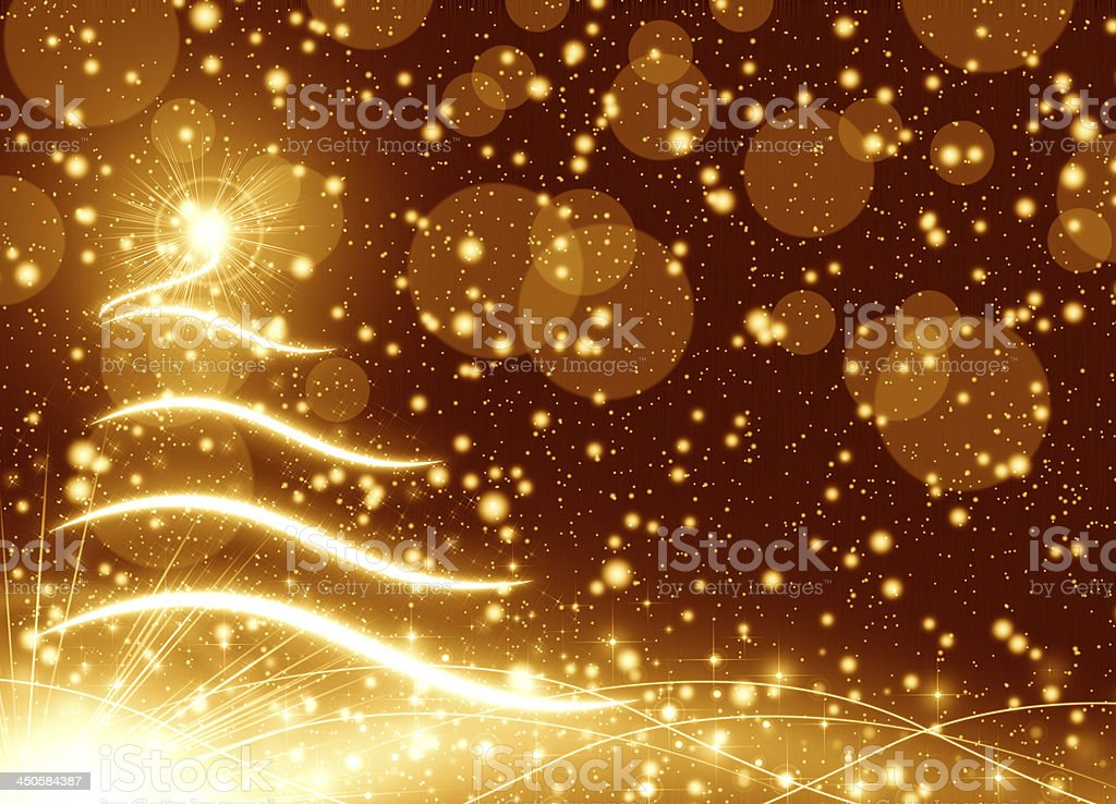 Golden Christmas tree background royalty-free stock photo