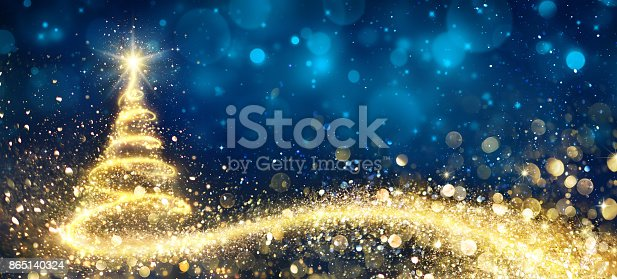istock Golden Christmas Tree In Abstract Night 865140324