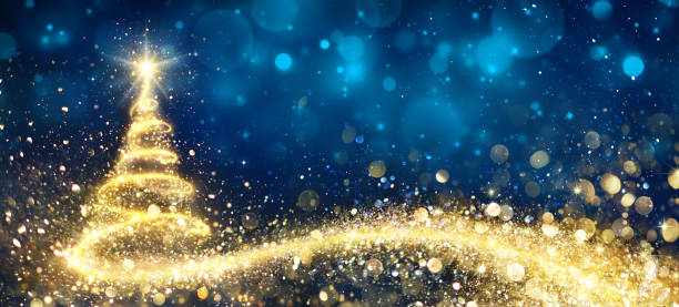 golden christmas tree in abstract night - christmas stock photos and pictures